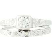 Art Deco Diamond Engagement Ring & Wedding Band - 10k & 14k Gold European .20ctw