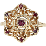 Ruby Snowflake Swirl Ring - 14k Yellow Gold Round Brilliant .40ctw