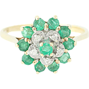 Tiered Emerald & Diamond Cluster Ring - 10k Yellow Gold Round Brilliant .76ctw
