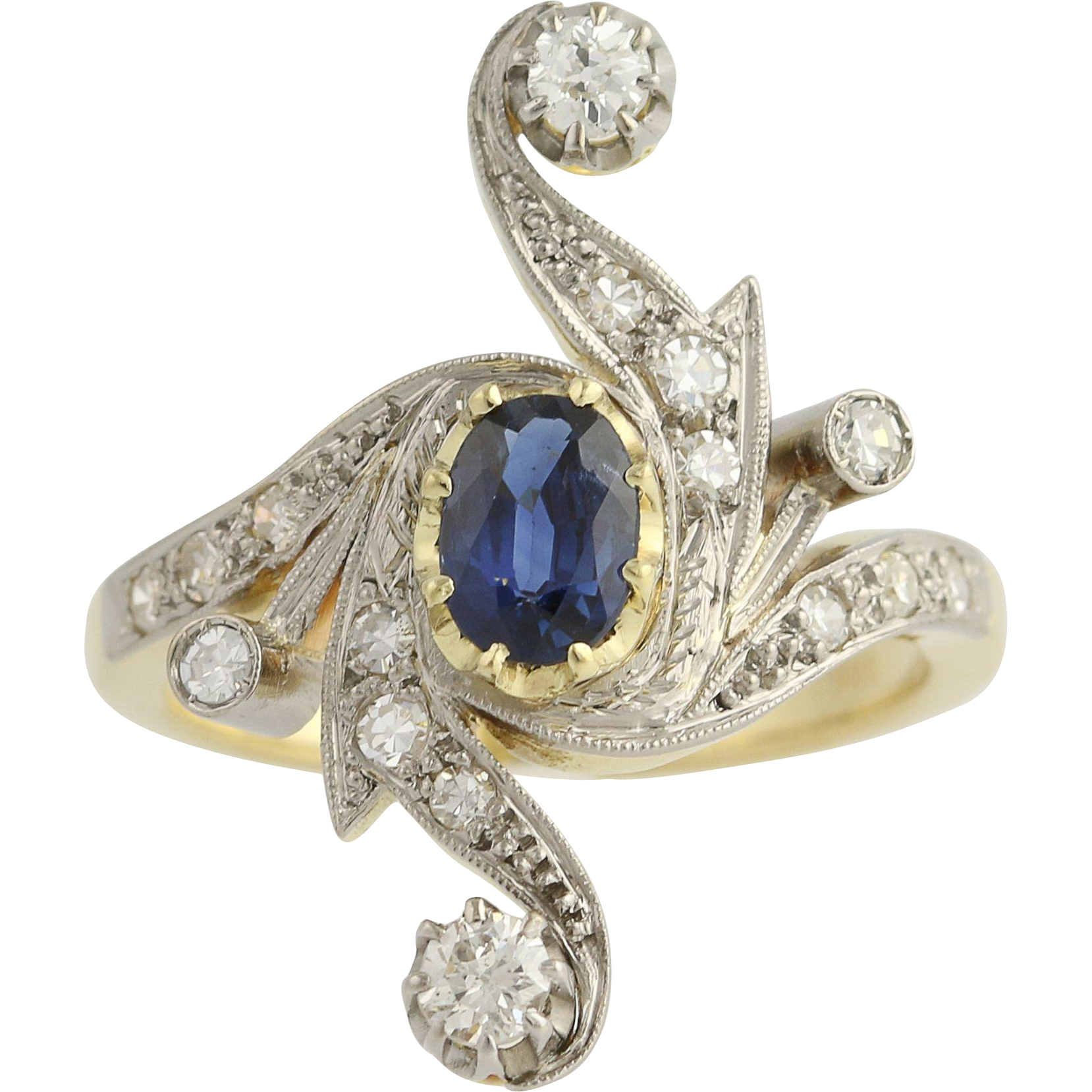 Art Deco Sapphire & Diamond Cocktail Ring - 18k Yellow White Gold Vintage 1.34