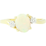 Opal & Diamond Bypass Ring - 18k Yellow Gold Oval Cabochon .88ctw