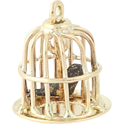 Bird in Bird Cage Charm - 14k Yellow Gold Vintage 3D Pendant