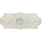 Art Deco Aquamarine & Diamond Brooch - 14k White Gold Vintage Pin 1.06ctw