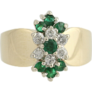 Floral Emerald & Diamond Ring - 14k Yellow White Gold Women's Cocktail 0.74ctw