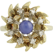 Synthetic Star Sapphire & Diamond Ring - 14k Yellow & White Gold .72ctw