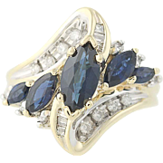 Sapphire & Diamond Bypass Ring - 14k Yellow Gold Marquise Brilliant 2.30ctw