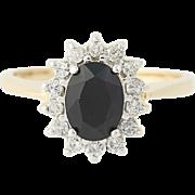 Black Onyx & Diamond Halo Ring - 14k Yellow Gold Women's Size 7 Oval .25ctw