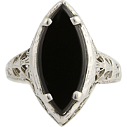 Art Deco Onyx Ring - 14k White Gold Filigree Black Marquise Solitaire Vintage