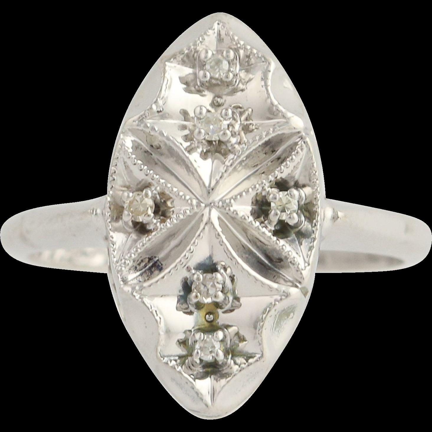 Vintage Diamond Ring - 14k White Gold Milgrain Accents .05ctw