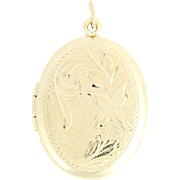 Oval Floral Locket - 14k Yellow Gold Etched Double Photo Frame Keepsake Opens