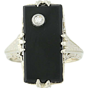 Art Deco Onyx Ring - 14k White Gold Filigree Diamond Accent Vintage Size 4 1/2