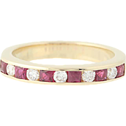 Ruby & Diamond Band Ring - 14k Gold Wedding Anniversary Stackable 1.02ctw