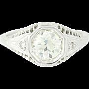 Art Deco Diamond Ring - 18k White Gold GIA Vintage European Cut 1.11ctw