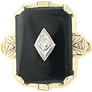 Vintage Onyx & Diamond Ring - 10k Yellow Gold Cut Corner Rectangle Cabochon