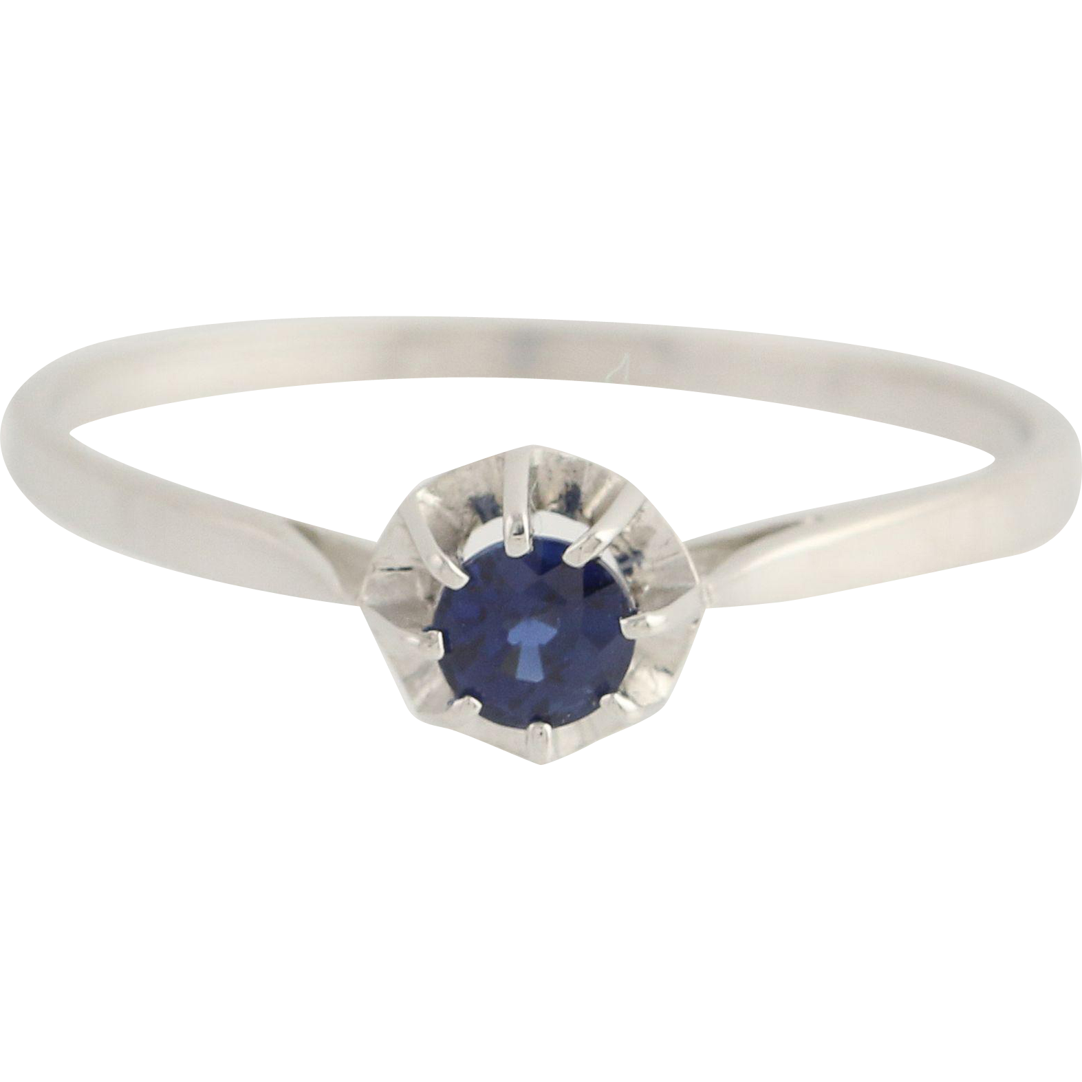 Sapphire Solitaire Ring - 18k White Gold Engagement Birthstone Stone Round .32ct