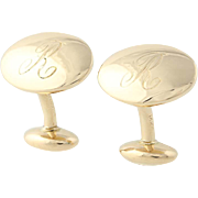 Oval Initial R Cufflinks - 14k Yellow Gold Monogrammed Men's Gift