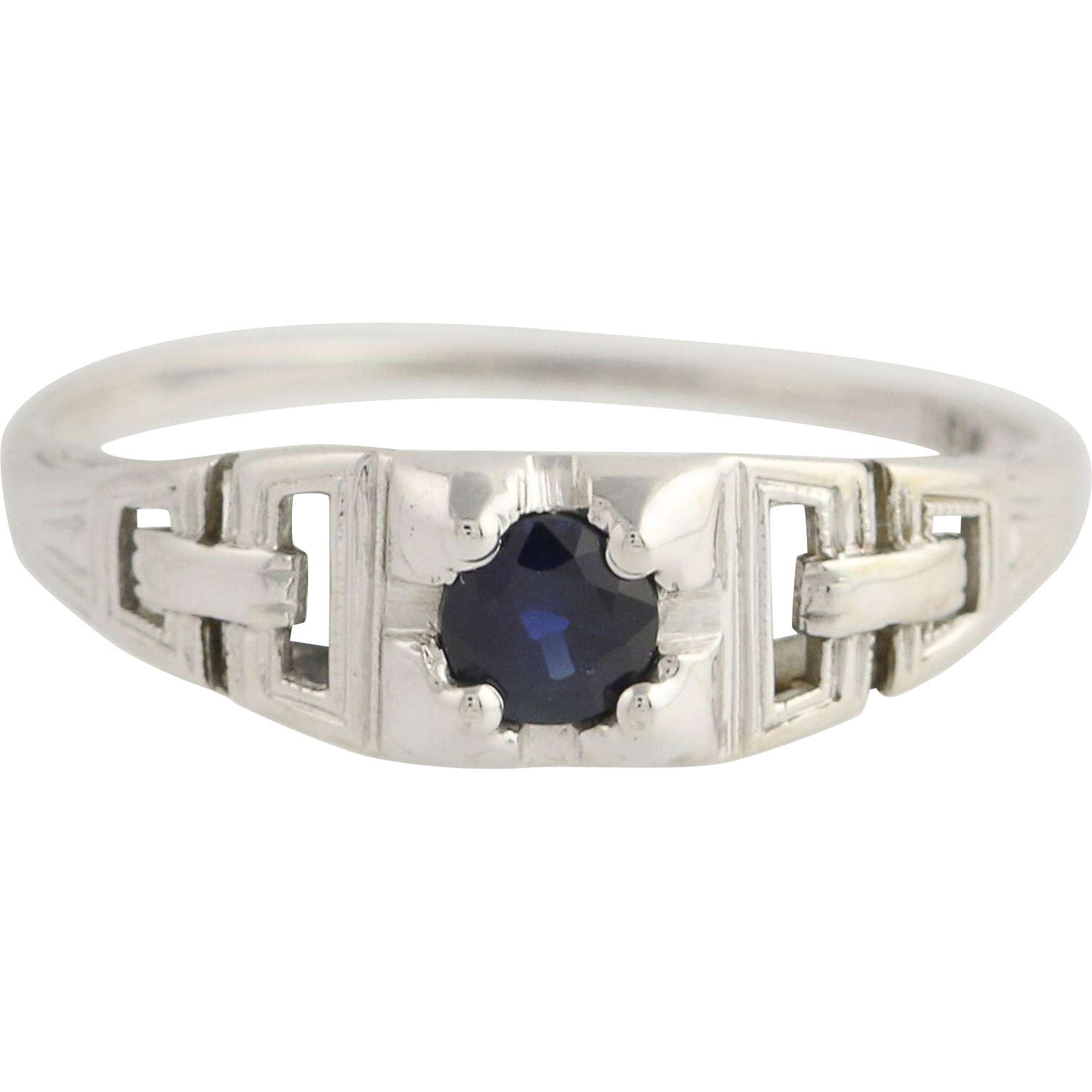 Art Deco Sapphire Solitaire Ring - 18k White Gold Vintage September Gift .34ct
