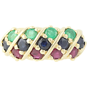 Sapphire, Emerald, & Ruby Ring - 14k Yellow Gold Round Brilliant Cut 1.46ctw