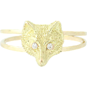 Diamond-Accented Fox Head Ring - 14k Yellow Gold Converted Vintage Stickpin