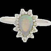 Opal Diamond Halo Ring - 14k White Gold Women's Birthstone Pear Cut 0.53ctw