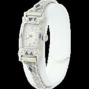 Art Deco Hamilton Ladies Watch- 14k & 18k Gold & Platinum Quartz Conv. Dia.16ctw
