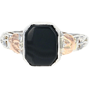 Art Deco Onyx Ring - 14k White Gold Etched Roses Vintage Size 8 3/4