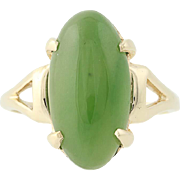 Nephrite Jade Ring - 10k Yellow Gold Oval Cabochon Solitaire 5.75ct