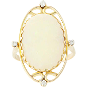 Opal Cocktail Ring - 14k Yellow Gold Diamond Accents Oval Solitaire 3.83ctw