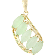 Green Serpentine Drop Pendant - 14k Yellow Gold Marquise Gems