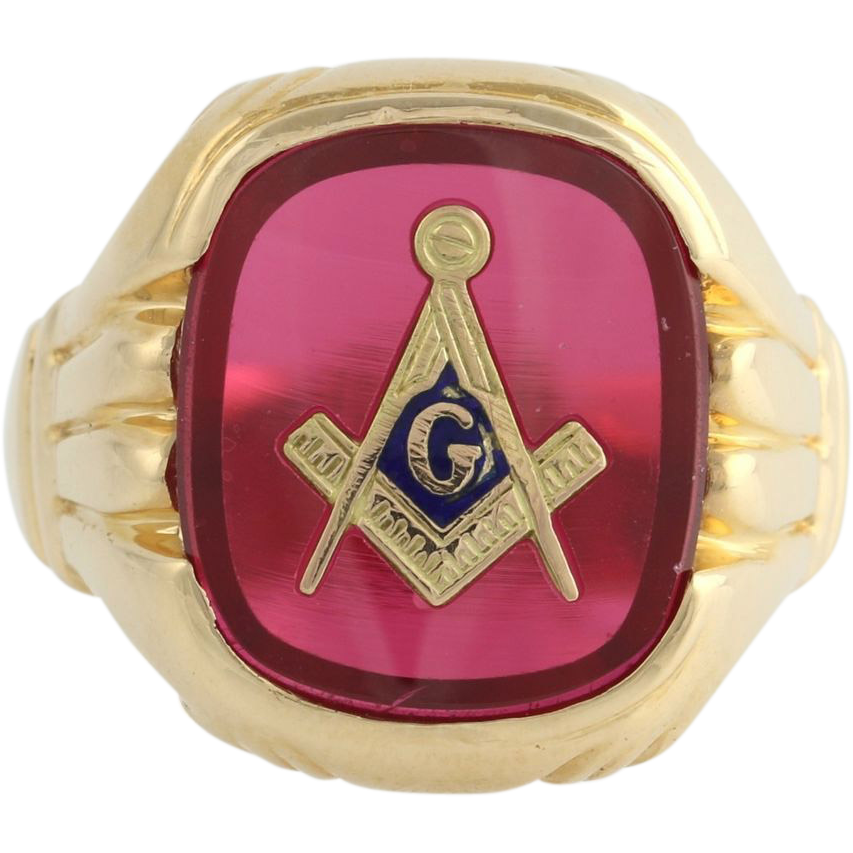 Synthetic Red Spinel Masonic Blue Lodge Ring - 14k Yellow Gold Band Masons 9.7g