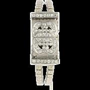 Swiss Chalet Diamond Wristwatch Platinum 14k White Gold Vintage Women's 1.94ctw