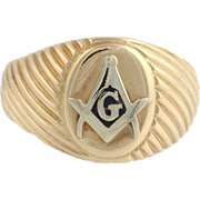 Blue Lodge Masonic Ribbed Band Ring - 14k Solid Yellow White Gold 11.8g Masons