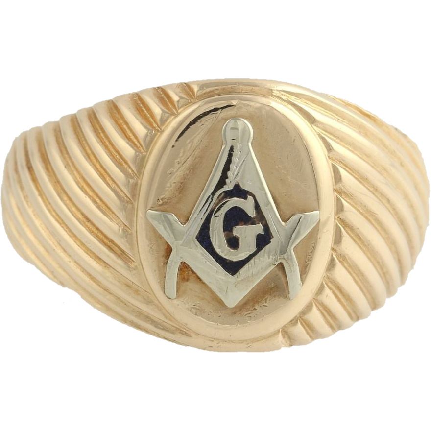 Blue Lodge Masonic Ribbed Band Ring - 14k Solid Yellow White Gold 11.8g Masons
