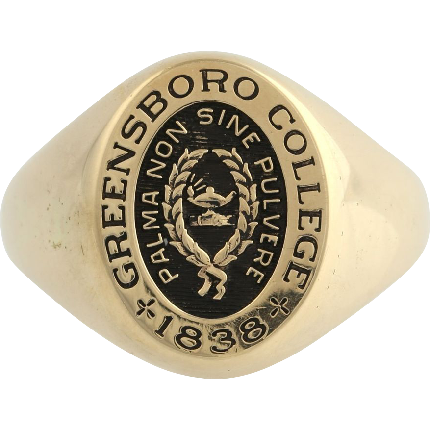Greensboro College Mens Signet College Ring - 14k Yellow Gold Solid Back Band