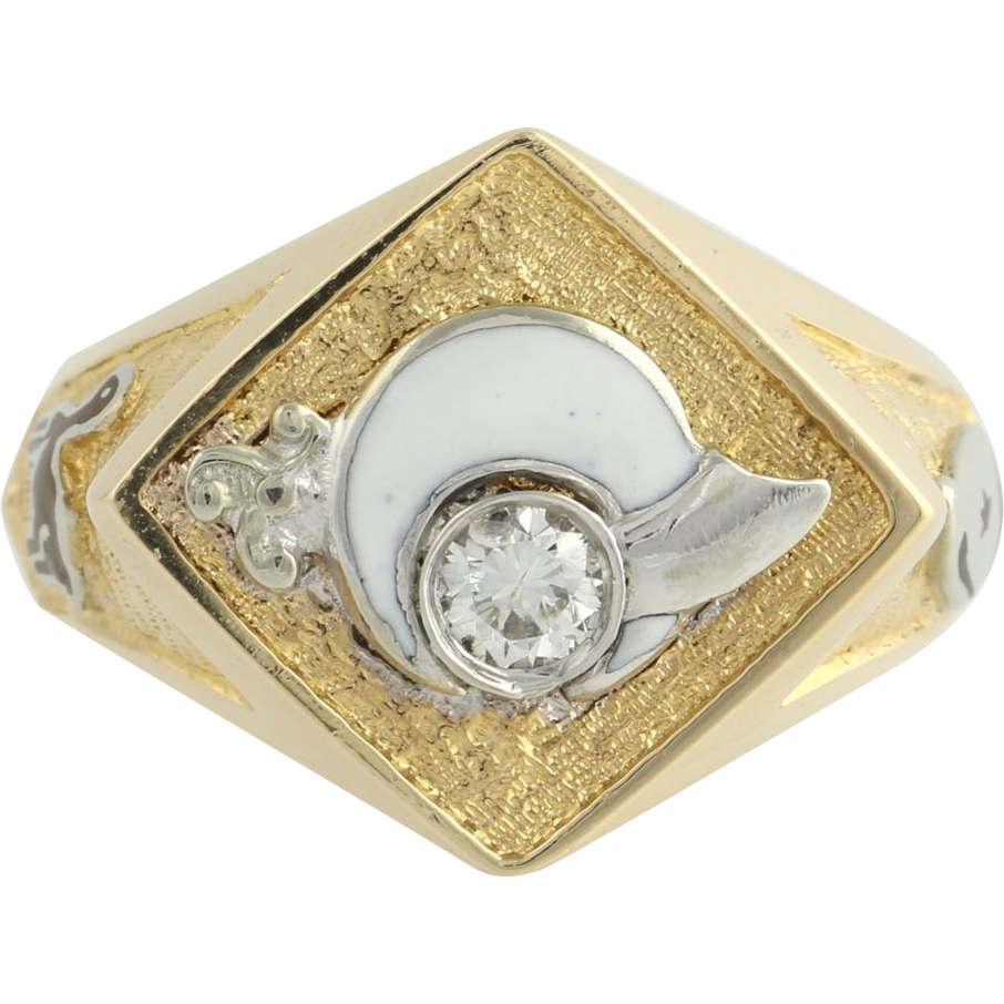 Genuine .17ct Diamond Shriners Ring - 14k Yellow White Gold Band 8.7g Masonic