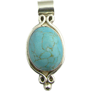 Chunky Simulated Turquoise Pendant - Sterling Silver Estate Vintage Solitaire