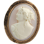 1910s 20s Carved Pink Shell Cameo Brooch- 10k Yellow Gold Wheat Pattern Pendant