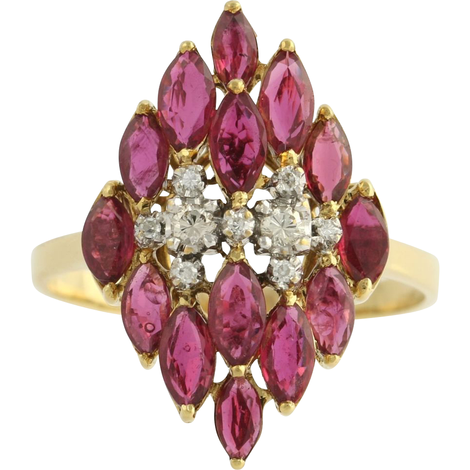 LeVian 3.75ctw Rubies & VS1-2 Diamond Cocktail Ring - 18k Yellow White Gold 6.7g