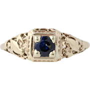 Art Deco Sapphire Solitaire Ring - 10k Yellow Gold September Gift Genuine .50ctw