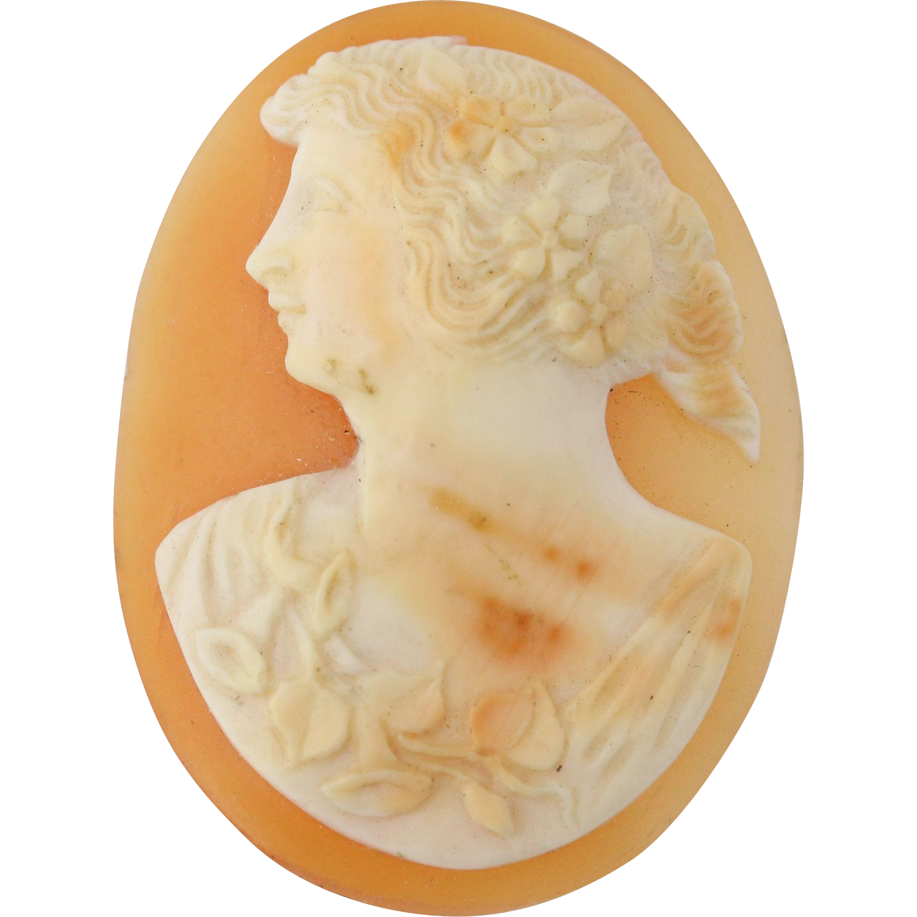 Carved Shell Female Cameo Jewelry Making Loose Oval Crafting Vintage Design
