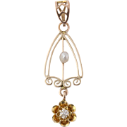 Art Deco Pearl & Diamond Accented Pendant - 10k Yellow Gold Genuine .02ctw