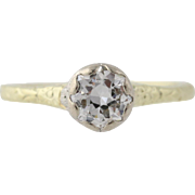 Art Deco Diamond Solitaire Engagement Ring - 14k Gold & Platinum Genuine .50ctw