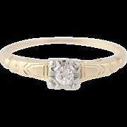Diamond Engagement Ring - 14k Yellow & White Gold Old Mine Cut Genuine .06ctw