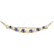 Edwardian Synthetic Sapphire & Pearl Crescent Brooch - 14k Yellow & White Gold