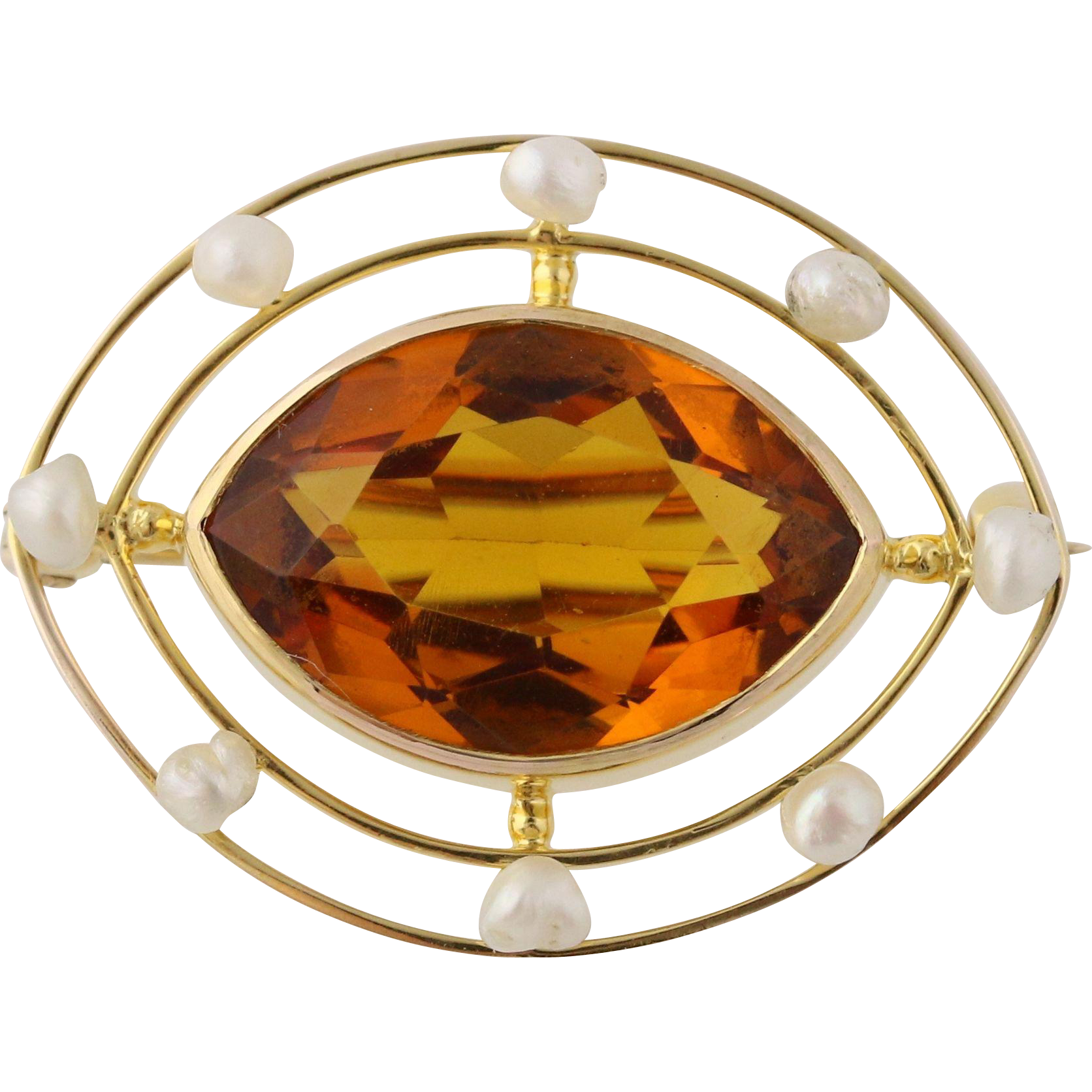 Edwardian Era Simulated Citrine & Pearl Brooch - 10k Yellow Gold Polished