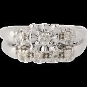 Diamond Engagement Ring & Wedding Band Set - 14k White Gold Genuine .23ctw
