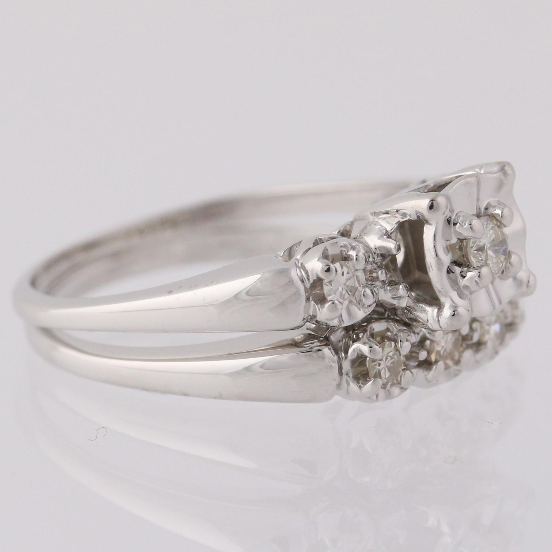 engagement ring wedding band set 14k white