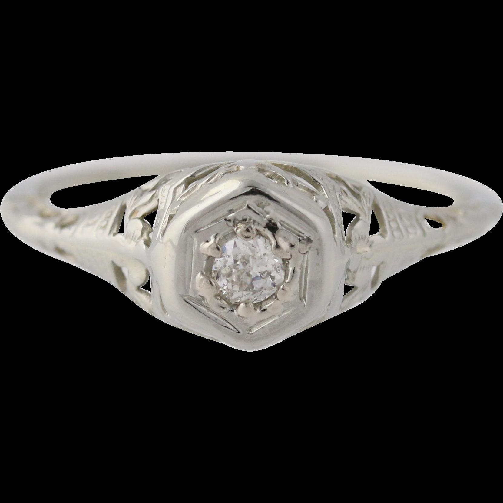 Art Deco Diamond Engagement Ring - 18k White Gold Old Mine Cut Genuine .05ctw
