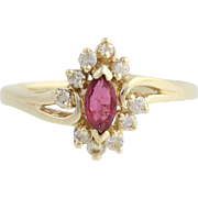 Ruby & Diamond Cluster Halo Ring - 14k Yellow Gold Marquise Solitaire 0.60ctw