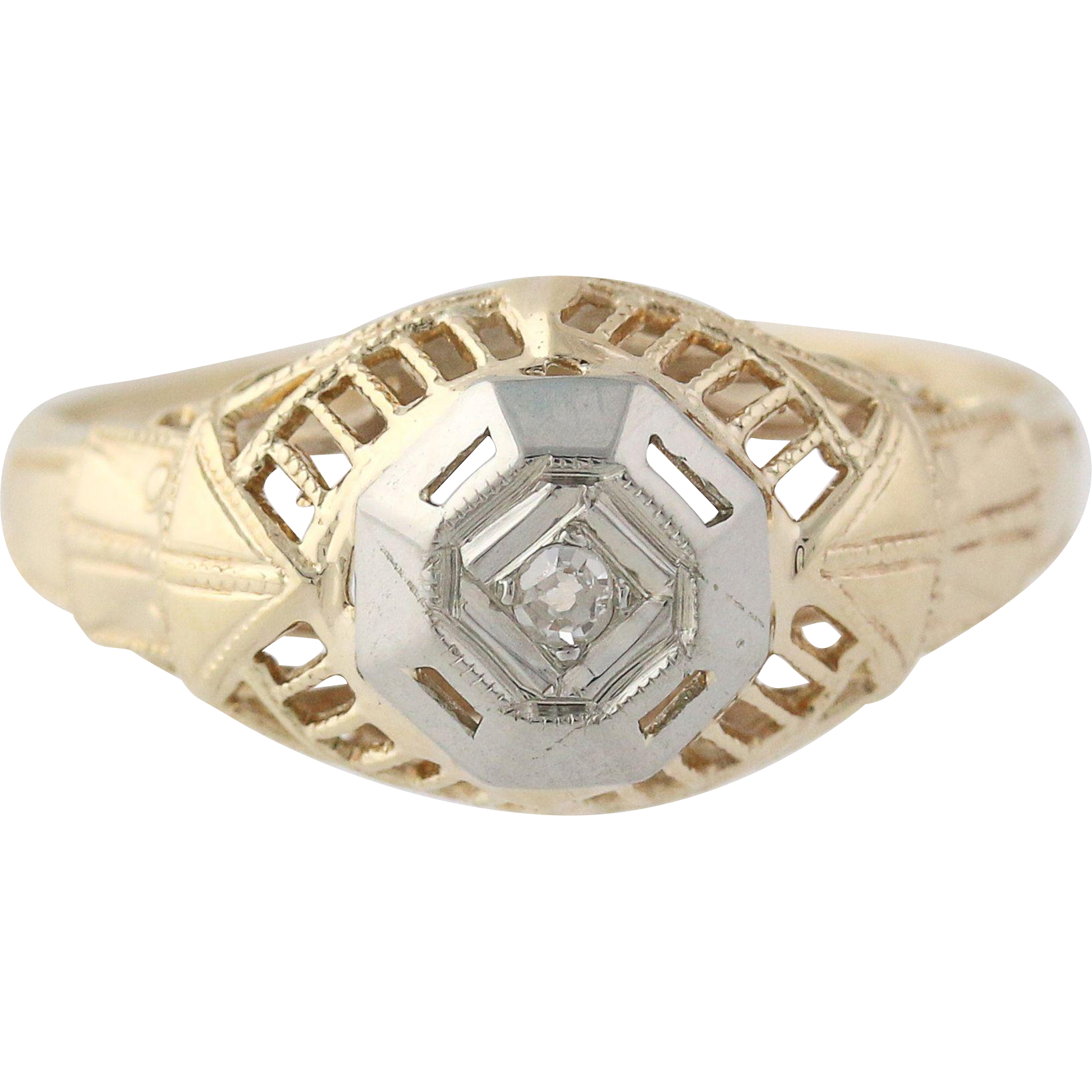 Art Deco Diamond Ring 10k Yellow White Gold Filigree Women's Solitaire 1920s-30s